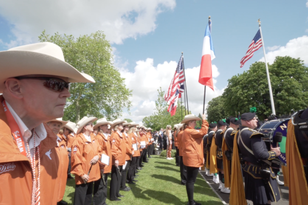 Longhorn Alumni Band Performs at the Brittany American Cemetery. June 6, 2019.