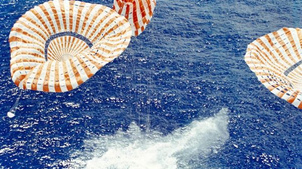 Columbia Command Module crashing into ocean.