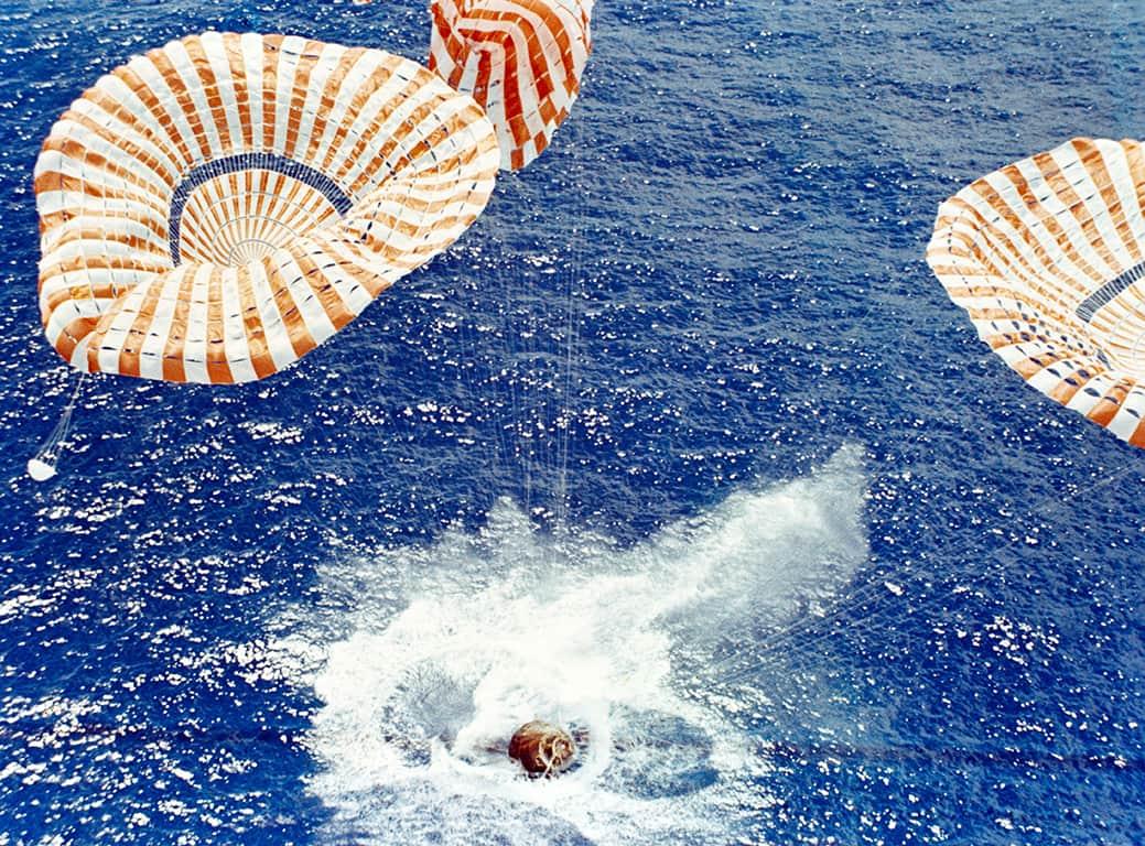 Columbia Command Module crashing into ocean.