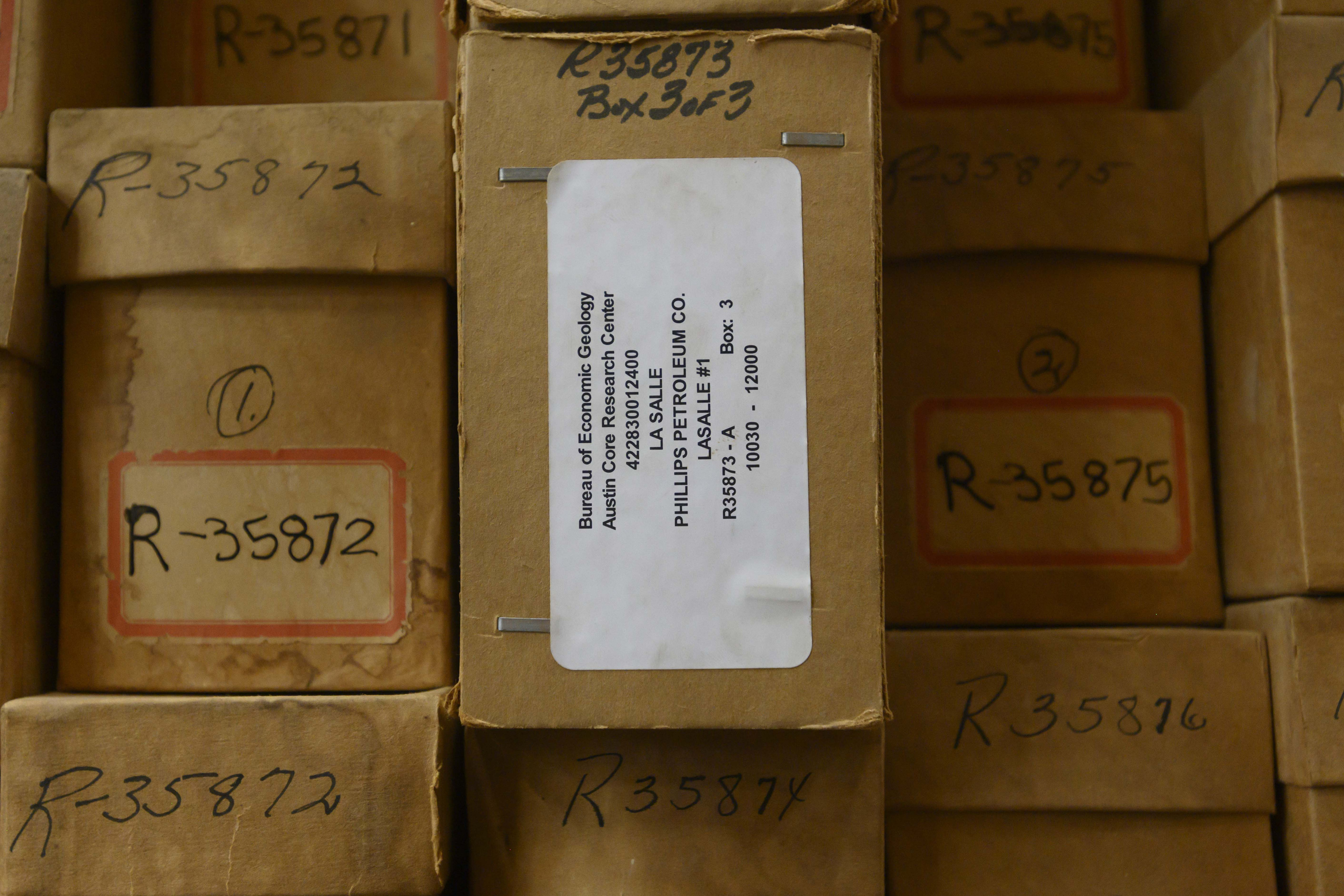 Small brown box that contains the cuttings that were analyzed for the Eagle Ford exploration.