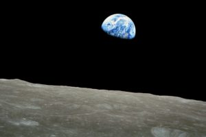 A view of Earth from the Moon's surface.