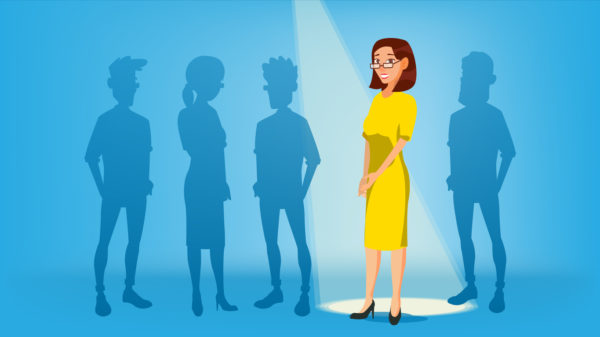 Woman Stand Out From The Crowd Vector. Job And Staff, Human And Recruitment. Business Success. Good Idea, Independence, Leadership. Flat Illustration