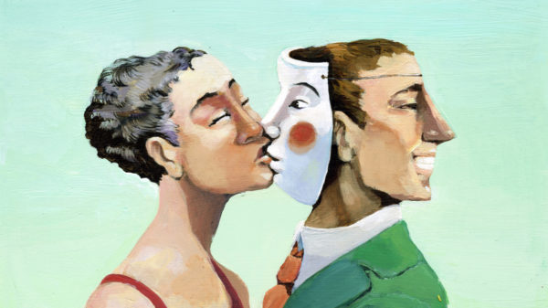 Woman kissing a mask instead of a man who is turned away.