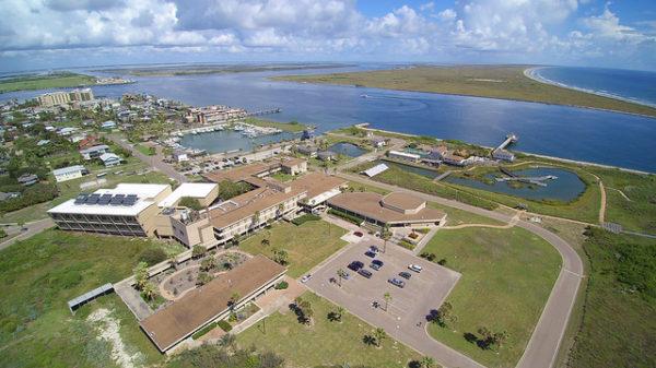 Aerial photo of the University of Texas Marine Science Institute in Port Aransas, Texas.