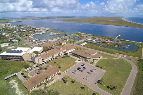 Aerial photo of the University of Texas Marine Science Institute in Port Aransas, Texas.