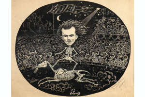 Background lithograph of Paul Verlaine, 1867.