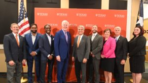 Sen. John Cornyn (R-TX) and UT Austin president Gregory L. Fenves with student veterans and UT leadership.