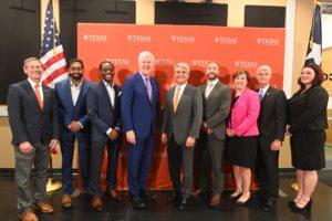 Sen. John Cornyn (R-TX) and UT Austin president Gregory L. Fenves with student veterans and UT leadership.