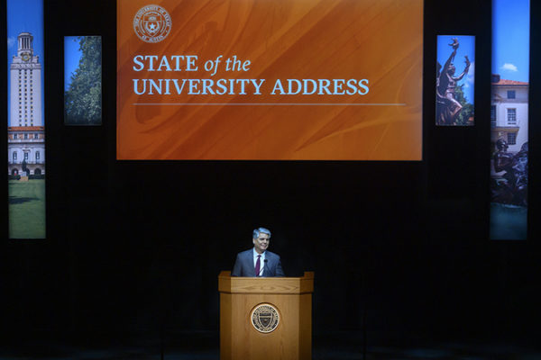UT President Gregory L. Fenves delivers the State of the University address.
