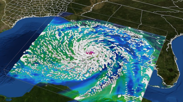 A computer visualization of Hurricane Ike shows the storm developing in the Gulf of Mexico