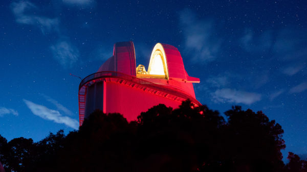 The Harlan J. Smith telescope at dusk.