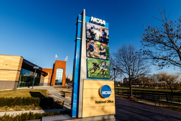 The front of the NCAA headquarters.