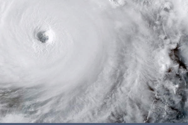 Ariel view of the eye of a swirling hurricane
