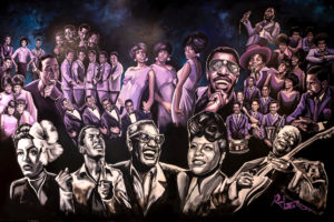 A mural depicting musicians from the Motown era.