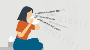 Illustration depicts woman sneezing out binary data. Credit: University Communications