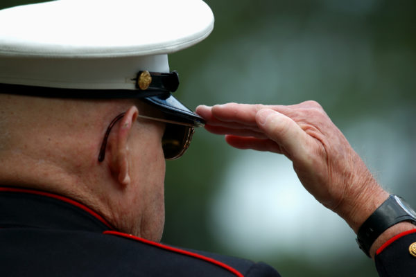 A soldier saluting