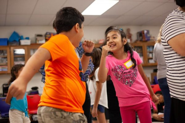 Students at Berkman Elementary School in Round Rock ISD participate in a teacher training as part of a new pilot project launched by UT's Drama for Schools program to teach educators how to integrate theatre techniques into their non-arts classes.
