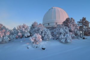 A serene view of the McDonald Observatory blanketed in snow. Credit: David Doss/McDonald Observatory