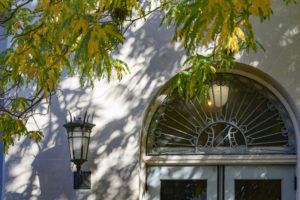 Yellow leaves overhand the arched doorway with turquoise grillwork and a lantern on the biology building.