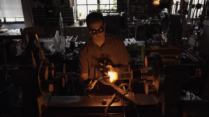 Adam Kennedy, the only scientific glassblower at UT.