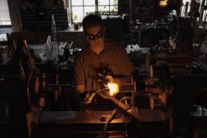 Adam Kennedy, the only scientific glassblower at UT.