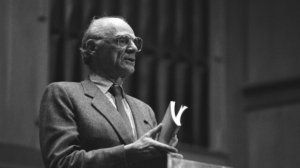Black and white photo of Arthur Miller, one of America's most acclaimed playwrights.
