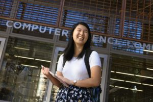 Rosaleen Xiong poses in front of the computer science building.