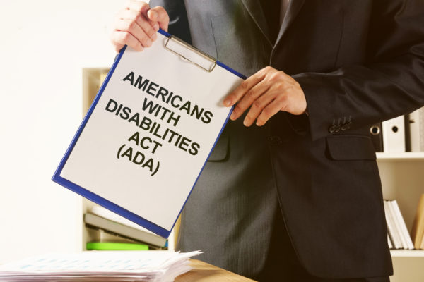 Conceptual hand written text showing Americans with Disabilities Act