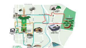A stylized map of the University of Texas at Austin campus showing possible walking routs.