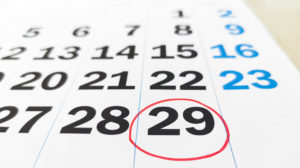 calendar of february in leap year with 29 number in red circle