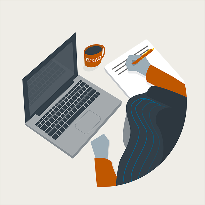 Illustration of woman at laptop