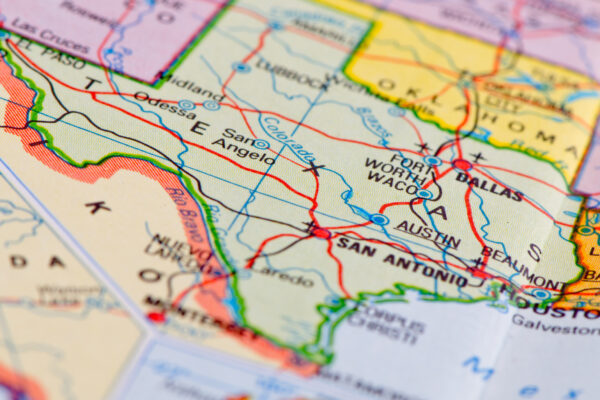 Close-up of Texas on a roadmap