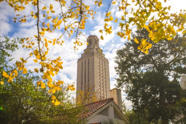 Tower through trees with yellow leaves in the fall 2017