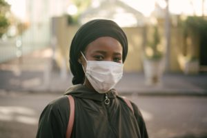 Black Woman wearing Covid-19 mask