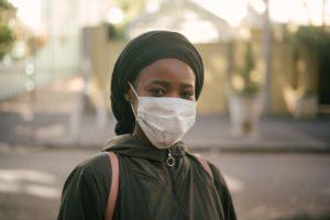 Black Woman wearing Covid-19 mask