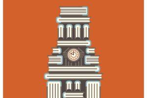 Illustration of UT Tower made of books set against burntorange background.