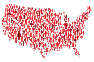 USA Map Made of Red Stickman Figures