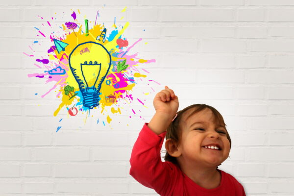 Little Girl Raising Finger with light-bulb thought bubble