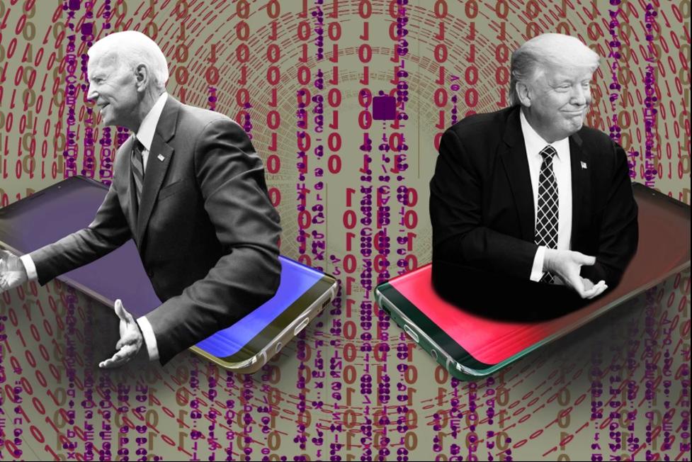Biden and Trump inside cellphones