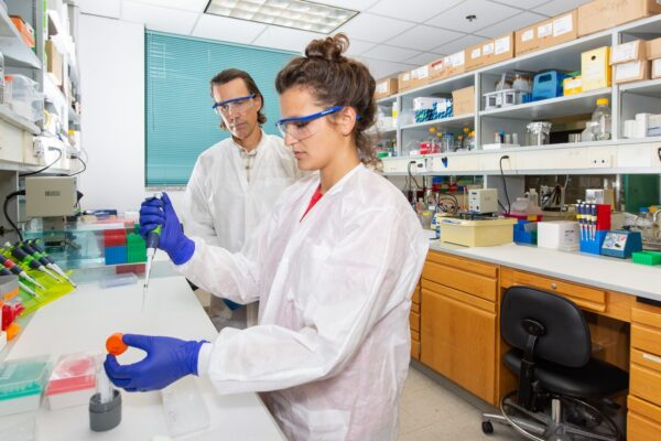 A male and female scientist conduct experiments in a laboratory. The woman holds a pipette.