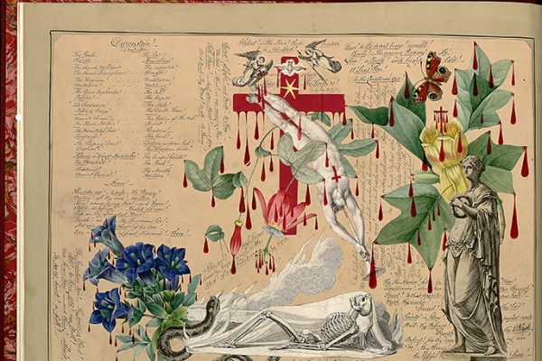 A page from a book that is decorated with flowers, leaves, a skeleton, a Greek statue, and drops of red ink, as well as handwriting.