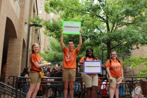 Jalesha Bass with fellow orientation advisers at UT's Jester Center.