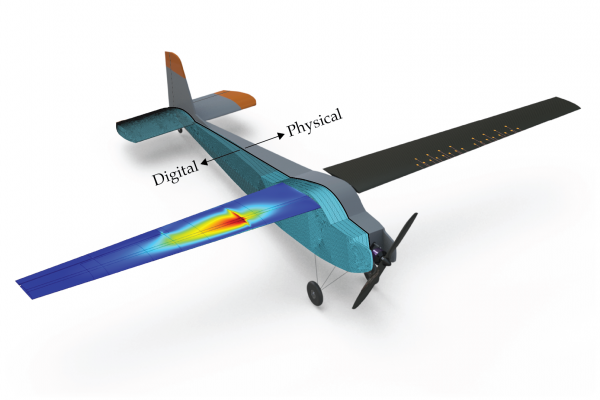 Illustration of a physical aircraft the researchers co-developed to test the digital twin technology outlined in this study. Credit Oden Institute DigitaltwinNatureCSKWillcox[2] copy