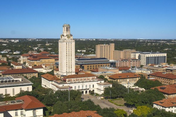 Tower and campus aerials from the roof of Dobie 2017