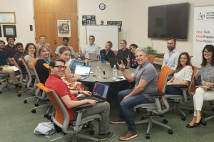 Staff and student associates at UT's Austin Technology Incubator office.