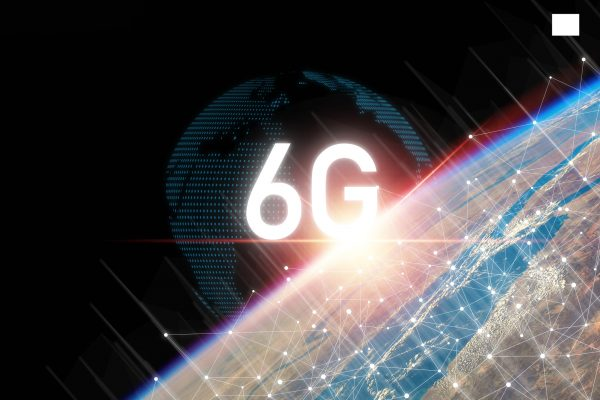 6G technology on earth and info graphics world with beautiful light , six generation of high speed internet technology which will change communication and lifestyle in the future.