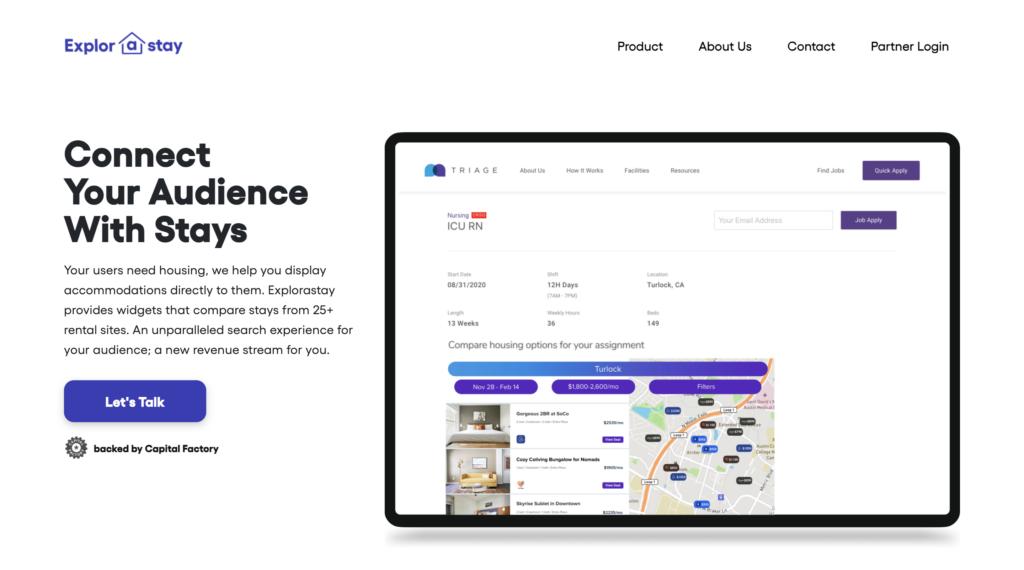 Explorastay Homepage, UT Austin Student Startup