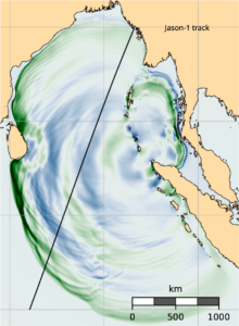 North Indian ocean map with colored bands showing the simulated quake
