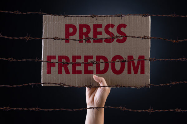 Woman holding cardboard paper with PRESS FREEDOM text and rusty sharp bare wire on dark background, conceptual image.