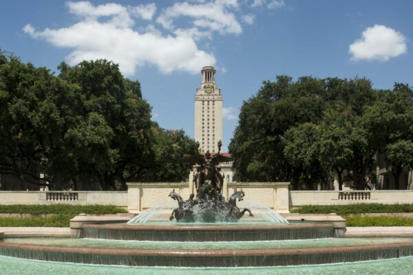 Tower and Littlefield Fountain 2014 with water on